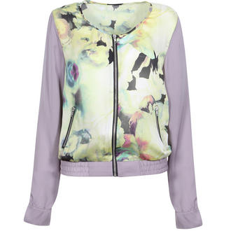View Item Floral Print Sheer Bomber Jacket with Contrast Sleeves