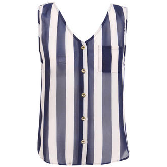 View Item Striped Sleeveless Sheer Top