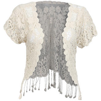 View Item Cream Floral Crochet Tassel Shrug