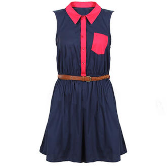 View Item Navy Belted Contrast Dress