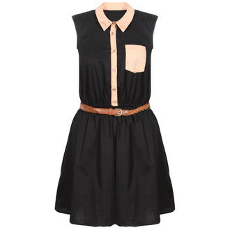 View Item Black Belted Contrast Dress