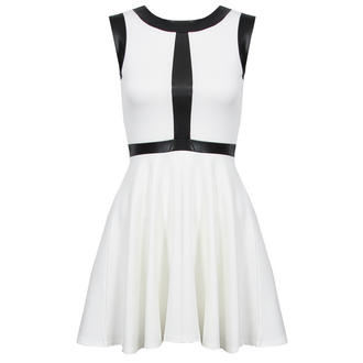 View Item White Skater Dress with Wet Leather Look Detail