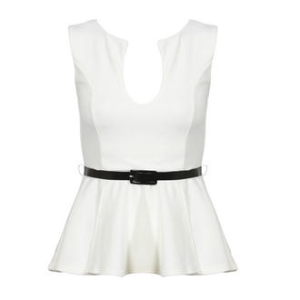 View Item White Belted Peplum Top
