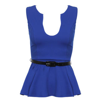 View Item Blue Belted Peplum Top