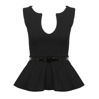 View Item Black Belted Peplum Top