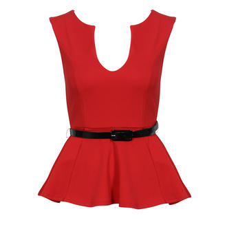 View Item Red Belted Peplum Top
