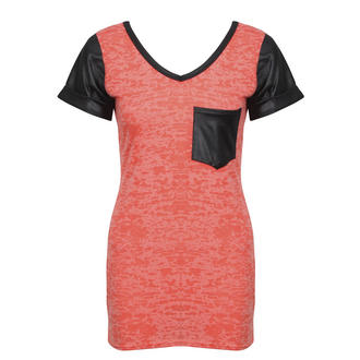 View Item Coral Pleather Sleeve V Neck Tee