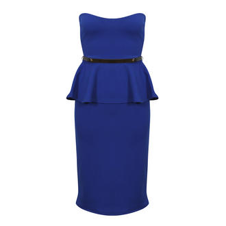 View Item Blue Belted Peplum Dress