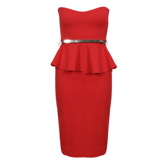 View Item Red Belted Peplum Dress
