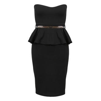 View Item Black Belted Peplum Dress