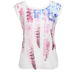 View Item Cream Sheer Front American Flag/Feather Print Top