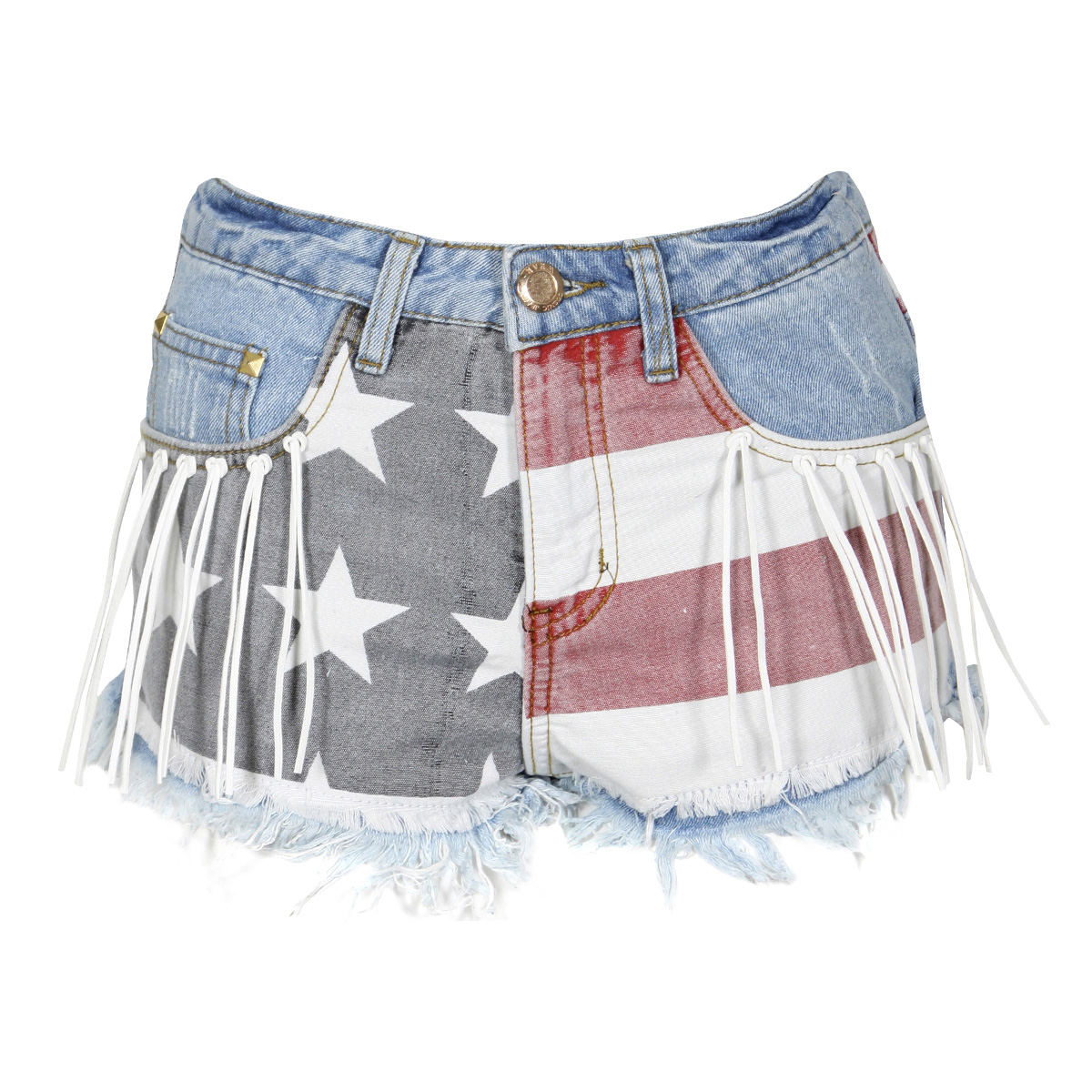 American Flag High Waist Shorts with Tassel and Stud Detail Preview