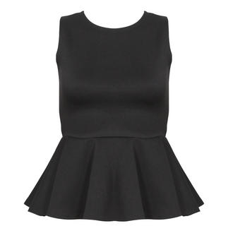 View Item Black Exposed Zip Peplum Top