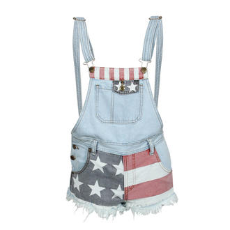 View Item USA Flag Print Frayed Dungaree Playsuit