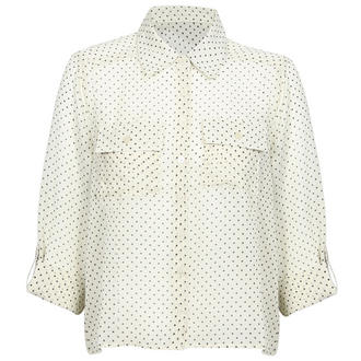 View Item Cream Polka Dot Dip Hem Blouse