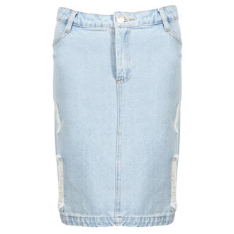 View Item Stonewash Distressed Denim Pencil Skirt
