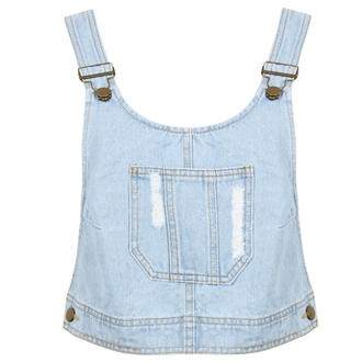 View Item Denim Cropped Dungaree Top
