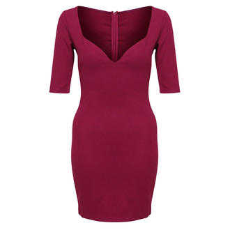 View Item Mink Pink Berry Bodycon Mini Dress with Sweet Heart Neckline