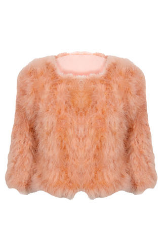 View Item Pink Sleek Feather Jacket As Seen on Rosie Fortescue
