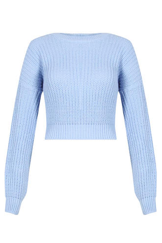 View Item Sky Blue Knitted Cropped Jumper