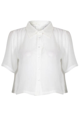 View Item Chiffon Pleat Back Cropped Shirt