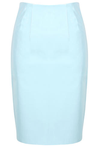 View Item Powder Blue PVC Midi Skirt as seen on Mollie King From The Saturdays