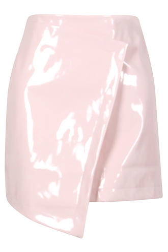 View Item Pale Pink PVC Asymmetric Mini Skirt
