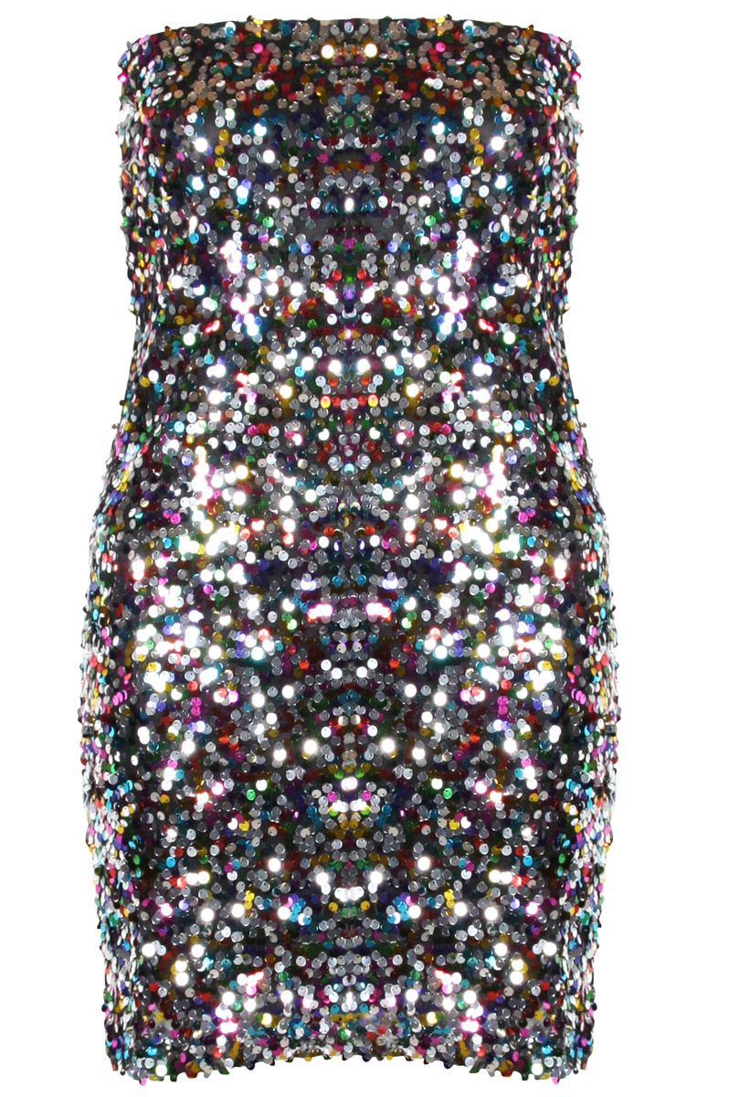 Vila Multi Sequin Bandeau Mini Bodycon Dress Preview