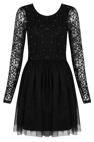 View Item Vila Black Pearl Embellished Dress