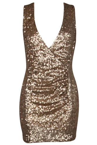 View Item True Decadence Gold Sequin V Neck Mini Dress