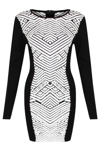 View Item Knitted Monochrome Aztec Bodycon Dress
