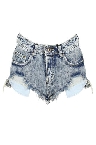 View Item Acid Wash Frayed Shorts