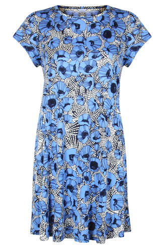 View Item Blue Poppy Print Swing Dress