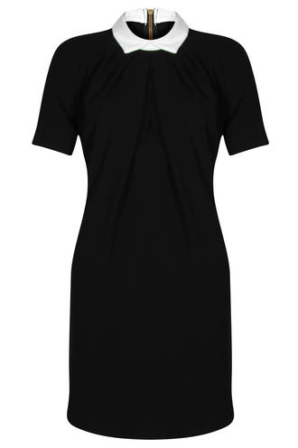 View Item Closet Black Contrast Collar Shift Dress