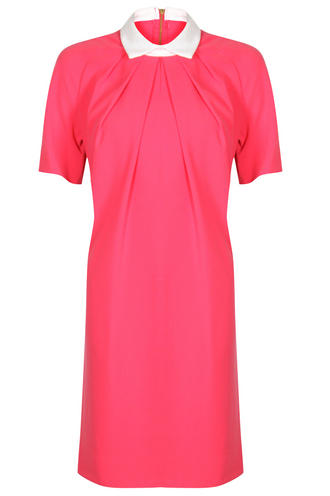 View Item Closet Pink Contrast Collar Shift Dress