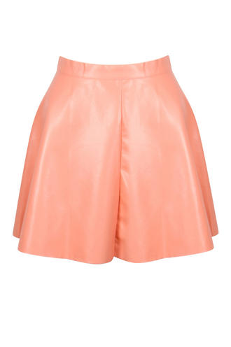 View Item Coral PU Skater Skirt