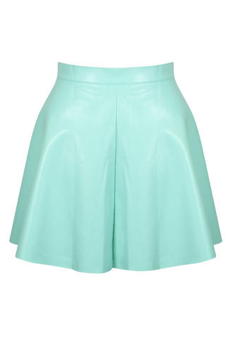 View Item Mint PU Skater Skirt