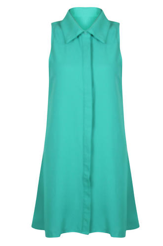 View Item Green Collar Shirt Sleeveless Swing Dress