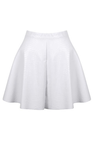 View Item White Snake Skin PU skater Skirt