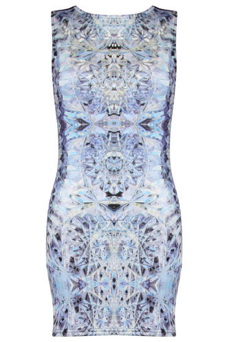 View Item Blue Graphic Print Bodycon