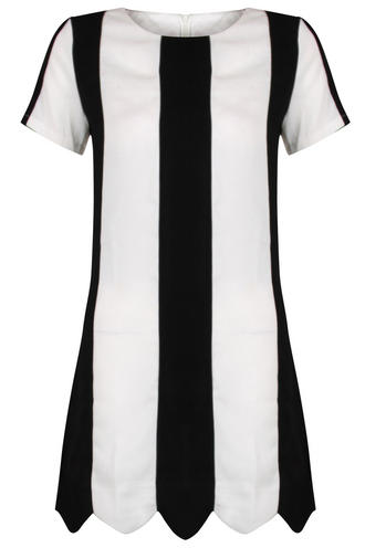View Item Monochrome Stripe Shift Dress