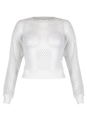 View Item White Netted Cropped Jumper