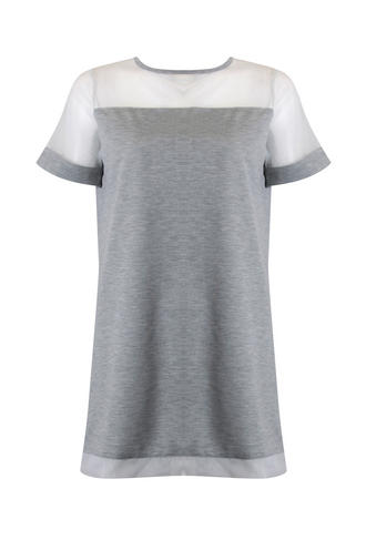 View Item Grey Mesh Tshirt Dress