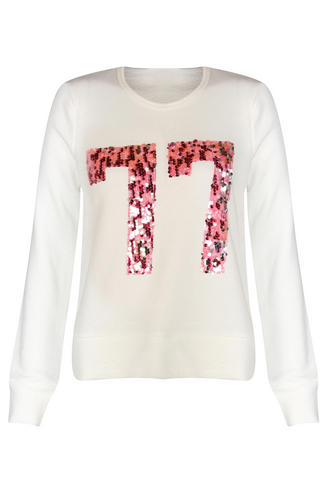 View Item Cream and Pink 77 Sequin Detail Sweat Top