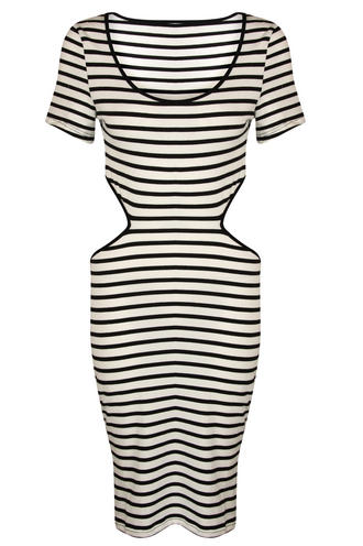 View Item Stripe Cut Out Dress