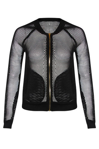 View Item Black Netted Bomber Jacket