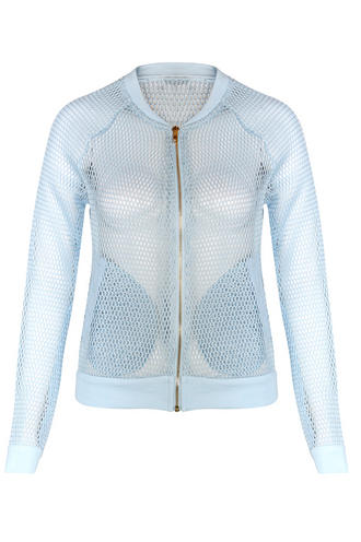 View Item Light Blue Netted Bomber Jacket