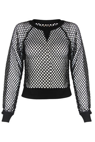 View Item Black Net Sweat Top