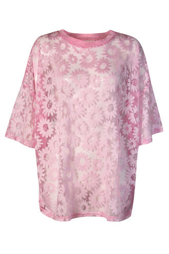 View Item Pink Daisy Oversized Sheer Top
