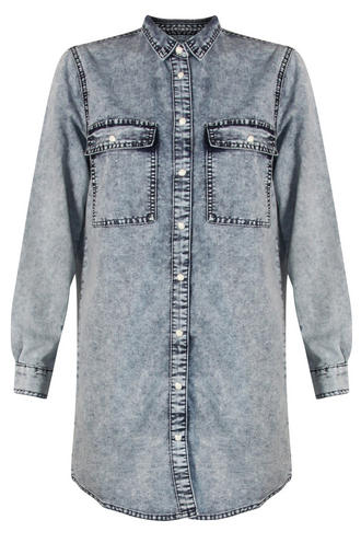 View Item Acid Wash Denim Shirt Dress